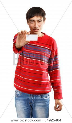 Young Man With Business Card
