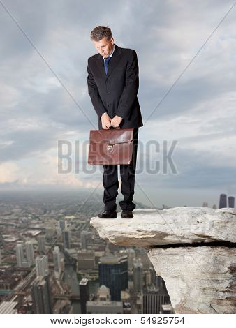 Sadness businessman. Financial crisis. Business concept