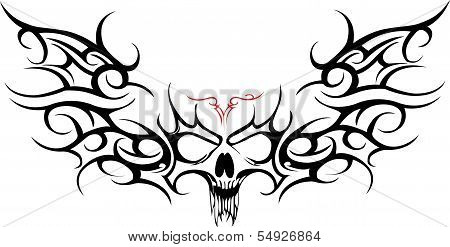ace of spades with skull tribal