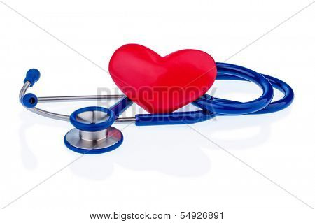 a heart and a stethoscope are adjacent. symbolic photo for heart disease and heartache.