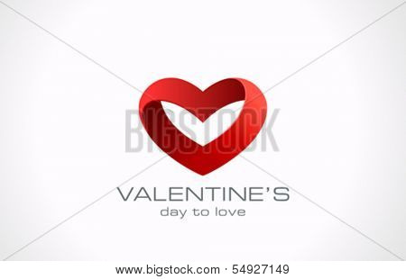Heart ribbon vector logo design template. Looped shape. Infinity love concept Valentine day icon
