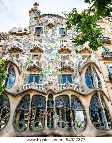 BARCELONA, SPAIN - JUNE 03: Casa Batllo Facade. The famous building designed by Antoni Gaudi is one of the major touristic attractions in Barcelona. June 03, 2013 in Barcelona, Spain