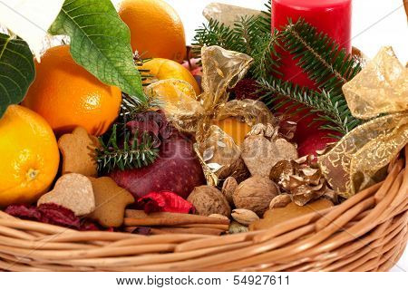 Fruits, Nuts And Gingerbreads In Basket