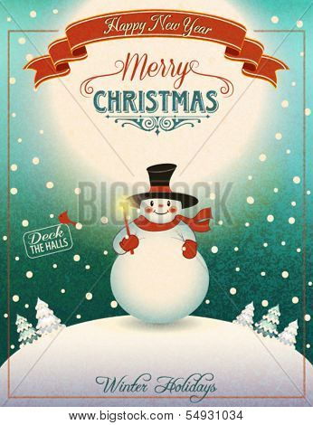 Snowman on the Hill - Christmas poster and greeting card with cheerful snowman holding Christmas candle on top of moonlit snowed-in hill, with snow-capped pine trees in the distance