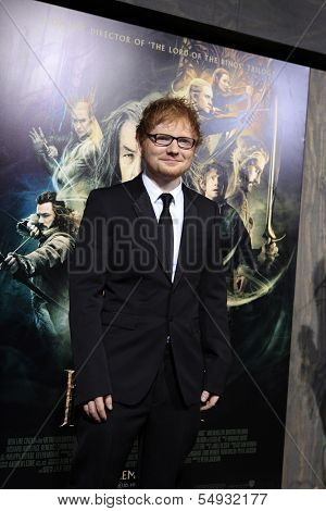 LOS ANGELES - DEC 2: Ed Sheeran at the premiere of Warner Bros' 'The Hobbit: The Desolation of Smaug' at the Dolby Theater on December 2, 2013 in Los Angeles, CA