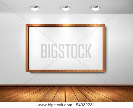 Empty wooden frame on a wall with spotlights and wooden floor. Vector illustration.