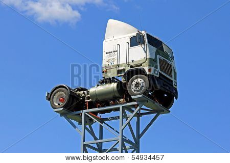 Vintage Freightliner Truck Up Against Blue Sky