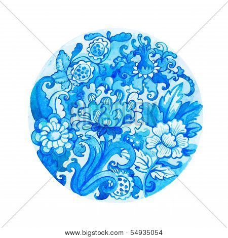 Round watercolor floral ornament