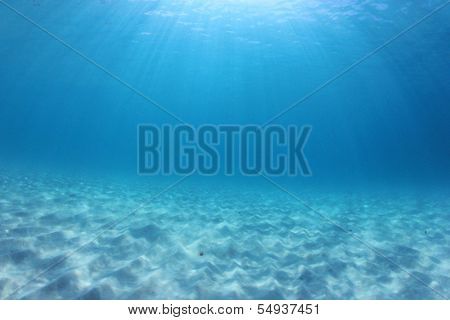 Underwater Background in blue sea water