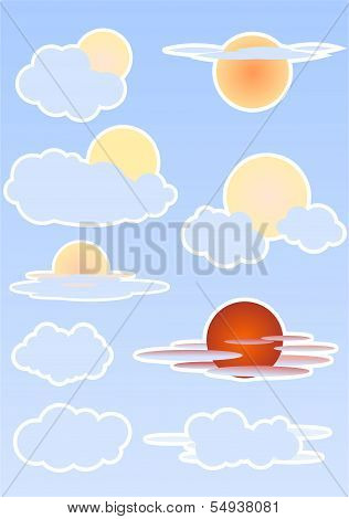 Set With Sun And Clouds