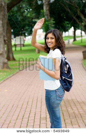 Student Waving Goodbye