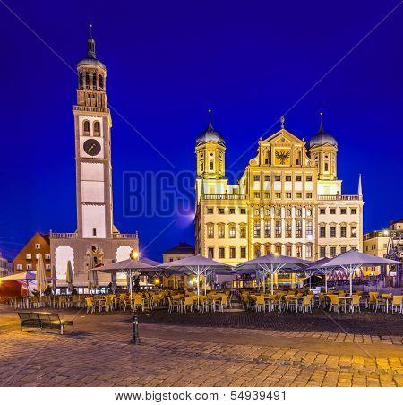 Augsburg, Germany townscape at Rathausplatz.