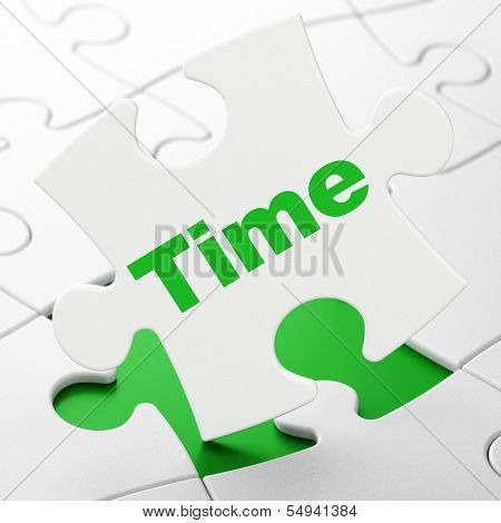 Time concept: Time on puzzle background