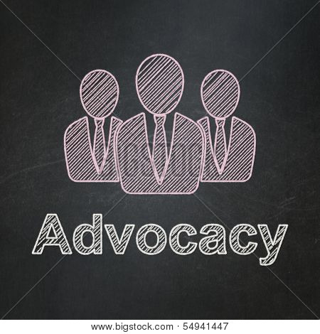 Law concept: Business People and Advocacy on chalkboard background