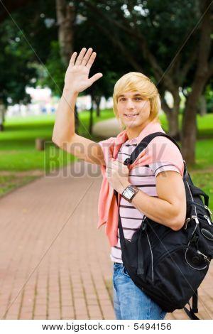 Student Waving Farewell
