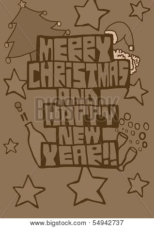 Merry Xmas and happy new year vintage