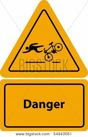 yellow  road defect warning bicycle sign