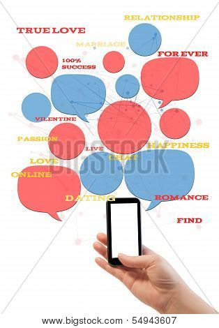 Online Dating Site Template On Smartphone With Text Isolated On White