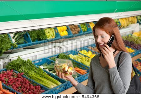 Shopping Series - Red Hair Woman With Mobile Phone