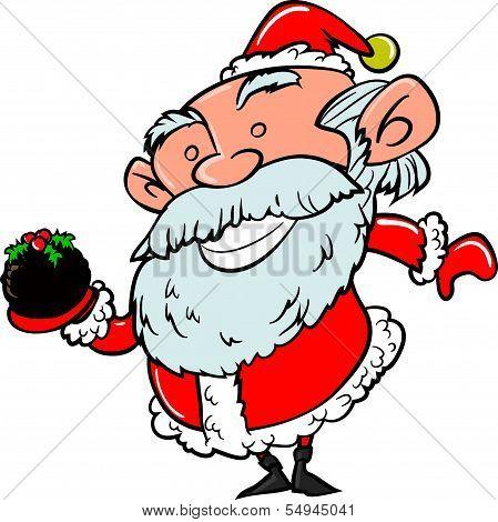Cartoon Santa with Xmas pudding