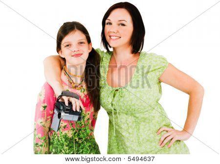 Girl And Woman Posing