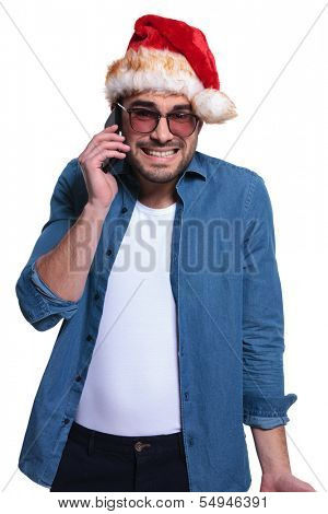 santa man is receiving bad news on his phone , on white background
