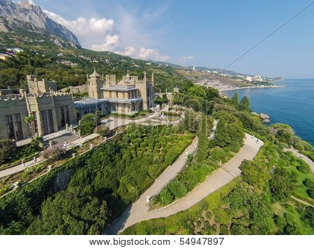 YALTA - AUG 27: Beautiful Vorontsov Palace against the sea and mountain Ay Petri on August 27, 2013 in Yalta, Ukraine. View from unmanned quadrocopter.