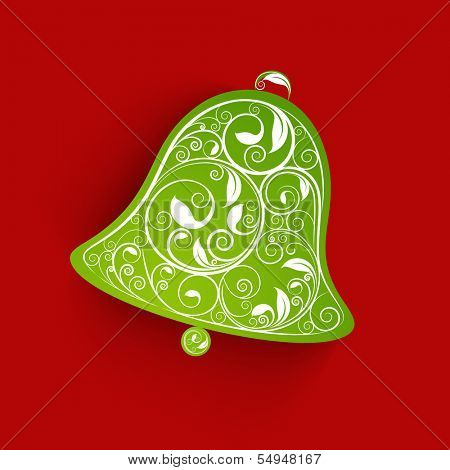 Merry Christmas celebration greeting card or gift card with floral decorated jingle bell on red background.