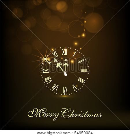 Golden clock striking time to celebration with stylish text Merry Christmas on brown background, can be use as flyer, banner or poster.