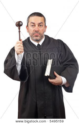 Judge Holding The Gavel And Book