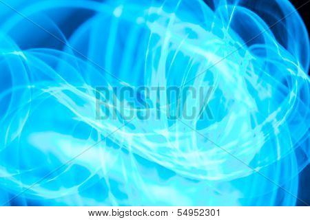 Glowing curved bluish lines