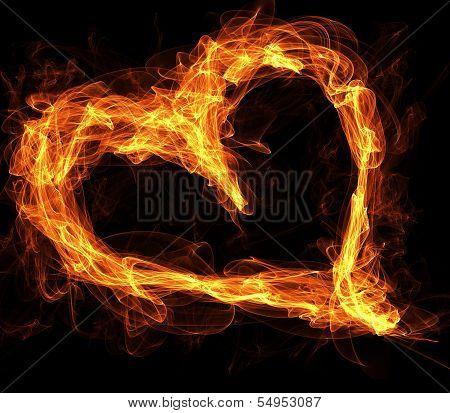 Flaming Fire Love Heart