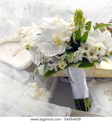 Bridal bouquet of orchids.