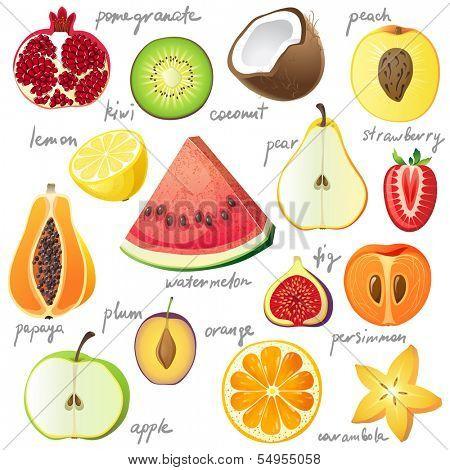 15 bright fruit pieces