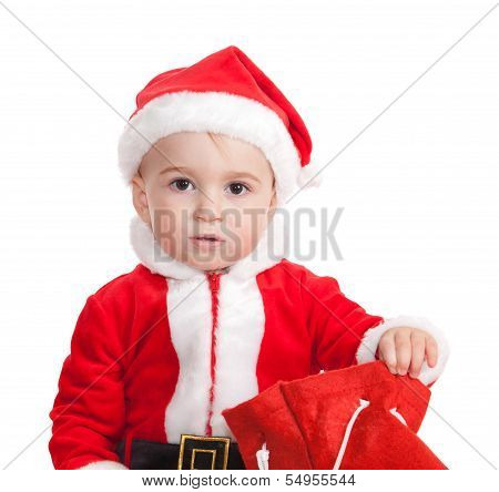 The Child In A Suit Of Santa Claus