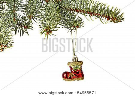 Christmas Decorations. Red Santa's Boot, Christmas Tree Isolated On White Background