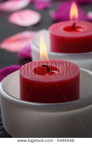 Candle And Flower Petal Decoration.