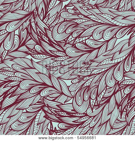 Seamless Floral Vintage  Monochrome Doodle Pattern With Abstract Feathers