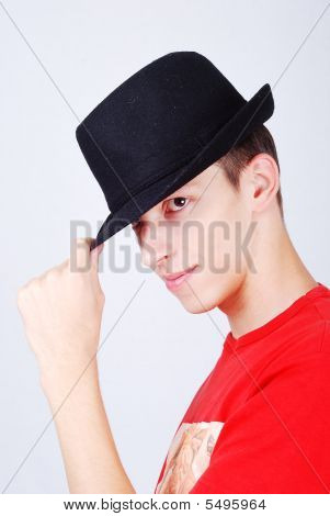 "Young Model With Hat On Head And ""hello"" Expression"