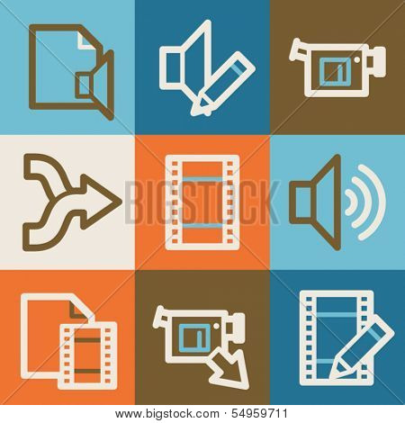 Audio video edit web icons, vintage series