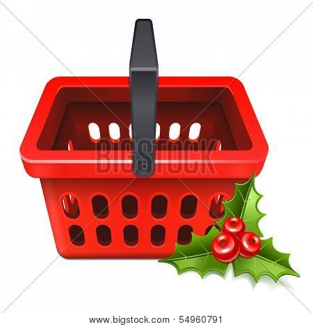 Christmas Sale. Shopping basket icon with the mistletoe 10eps