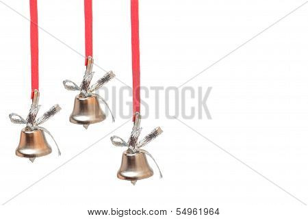 Three Silver Bells On Red Ribbons