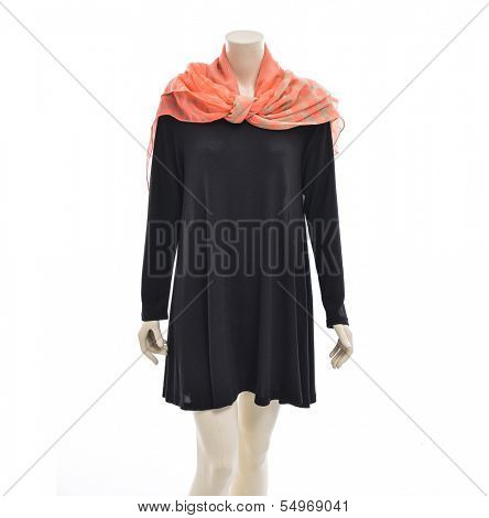 Mannequin dressed in black female sundress with silk scarf