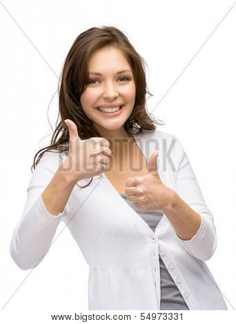 Half-length portrait of young girl who thumbs up with both hands, isolated on white