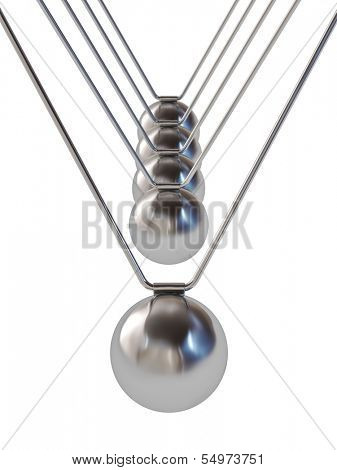 Action sequrence concept background - Newton's cradle executive toy isolated on white background