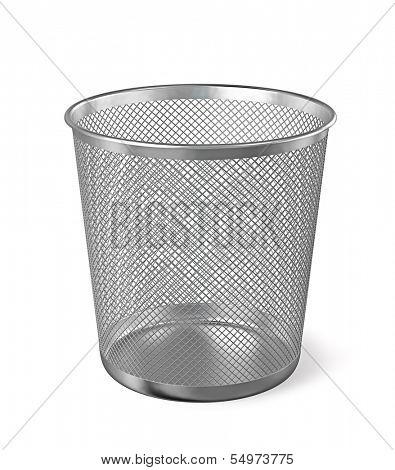 Empty metal trash garbage bin paper bin isolated on white background