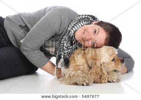 Girl And American Cocker Spaniel