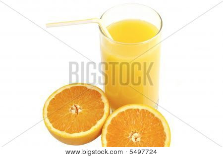 Glass Of Juice With Slices Of Fresh Orange.