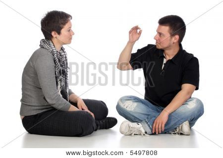 Deaf Persons Hand Demonstrating