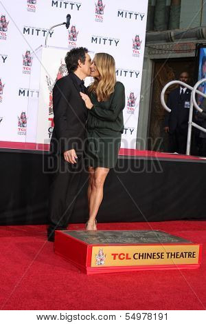 LOS ANGELES - DEC 3:  Ben Stiller, Christine Taylor at the Ben Stiller Handprint and Footprint Ceremony at Dolby Theater on December 3, 2013 in Los Angeles, CA